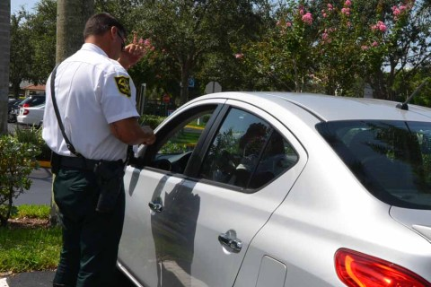 Tamarac BSO Deputy Trevor Goodwin at a traffic stop on Wednesday.