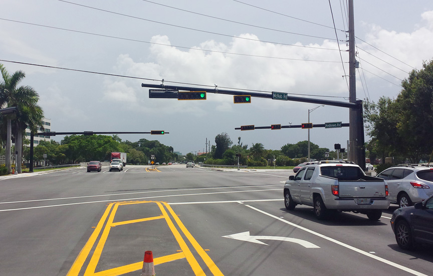 Example of new mast arms at an intersection. Photo courtesy Calvin, Giordano & Associates, Inc.