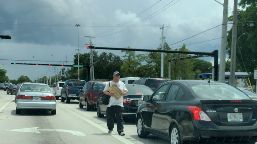 Panhandling still continuing in Tamarac June 27, 2016 on year after ordinance was passed.
