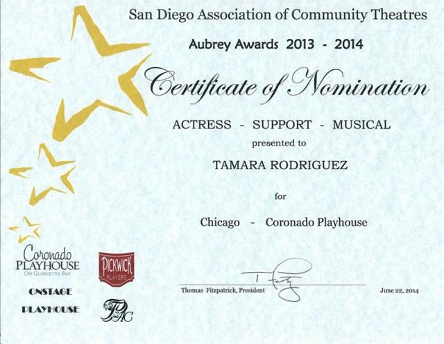 Tamara-Rodriguez-Mehl_2013-2014-Aubrey-Award_Chicago-Musical_Coronado-Playhouse_San-Diego-CA_01