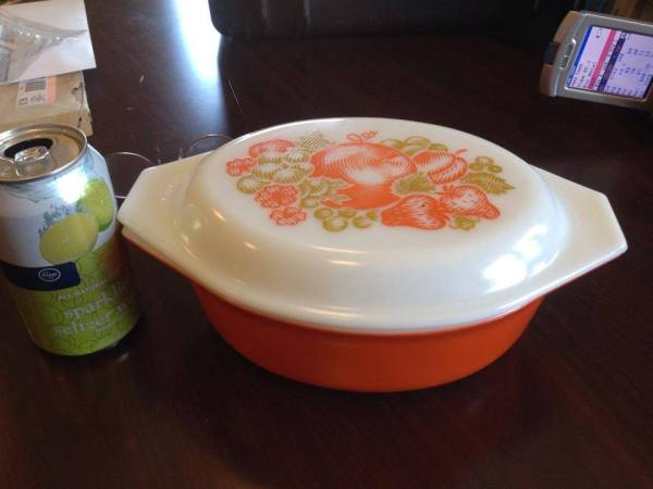 """Orange Fiesta"" Pattern Vintage Pyrex Casserole with Lid, 1971"