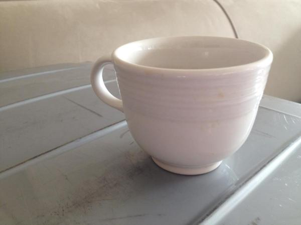Modern White Fiestaware Tea Cup: 40 ppm Lead when tested with an XRF instrument.