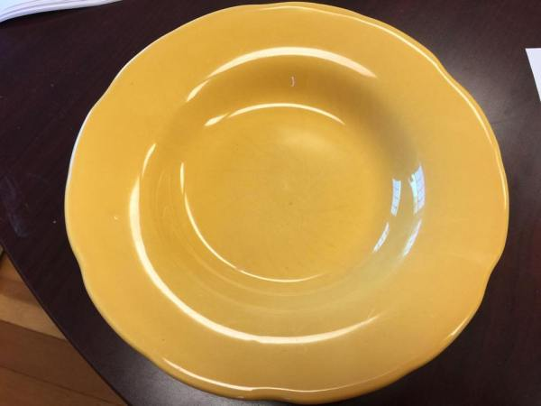 Pier One Yellow Glazed Ceramic Plate, Made in Portugal: 6,495 ppm Lead