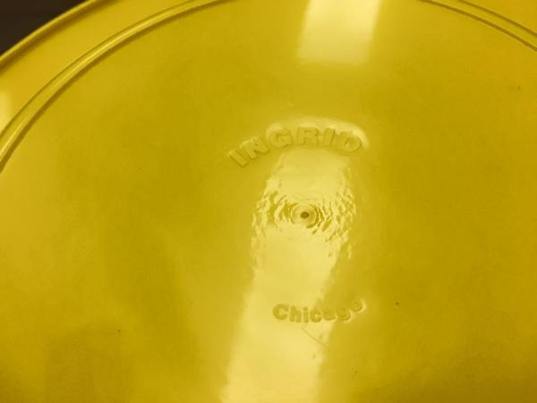 "1970s Yellow Plastic ""Ingrid"" - Made In Chicago Dishes"