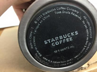 2011 White Ceramic Lined Stainless Steel Starbucks Coffee Travel Mug
