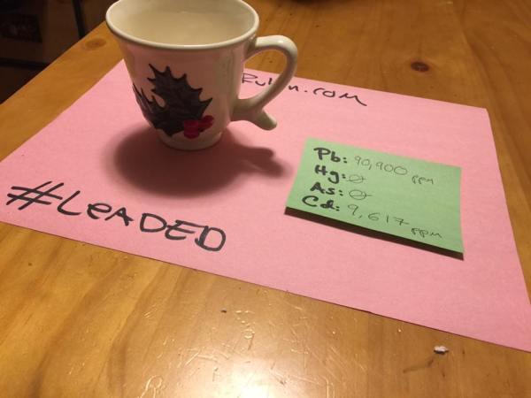 1972 Handmade Christmas Mug / Teacup: 90,900 ppm Lead + Cadmium Too!