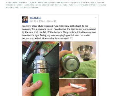 "Pura Kiki Insulated Baby Bottle: the most egregious example of a ""green-branded"" bottle with unsafe levels of Lead."