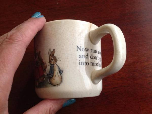Beatrix Potter Wedgwood China Peter Rabbit Baby Cup (c. 1960 ): 59,200 ppm Lead