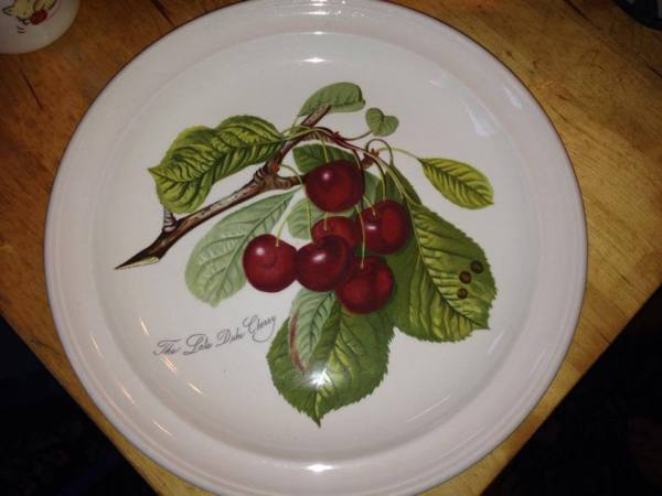 Portmeirion China Plate with Cherry Pattern, Made in England