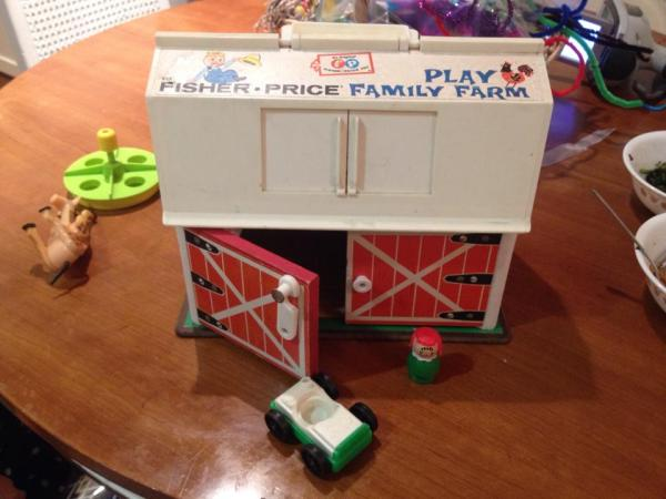 Vintage Fisher Price Family Play Farm Set - Barn