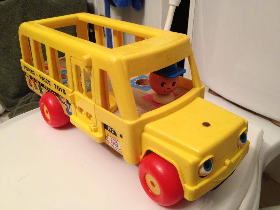 Vintage 1970s Fisher Price School Bus Toy 90 Ppm Lead