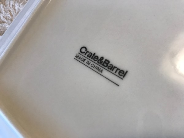 Square White Crate And Barrel Dishes Made In China