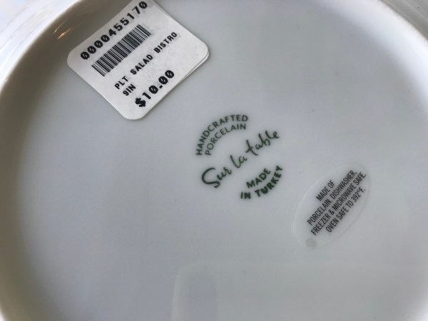 "Sur La Table ""Made In Turkey"" Dish Set, 2018"