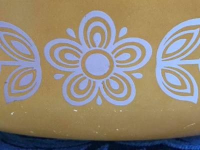 "Vintage ""Butterfly Gold"" Pattern Pyrex Casserole Dish, c. 1972 - 87,000 ppm Lead"