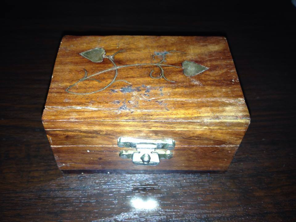 """Wooden """"Made In India"""" Wooden Box with Leaded Brass Decorative Components"""