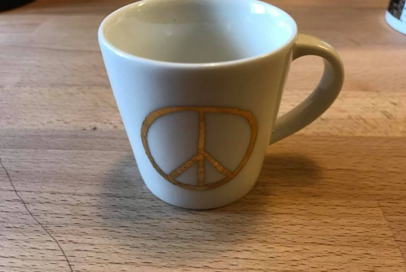 Starbucks Coffee Gold Peace Sign Espresso Mug