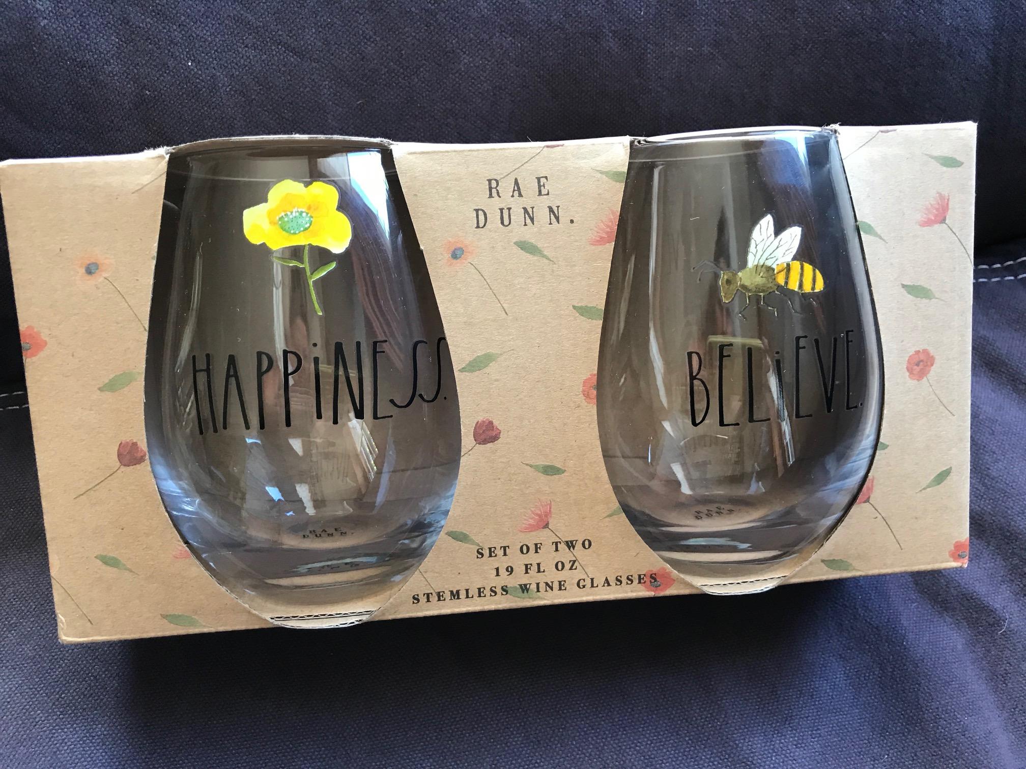 Rae Dunn Lead Free Stemless Wine Glasses Happiness Believe Lead Safe Mama Tamara Rubin