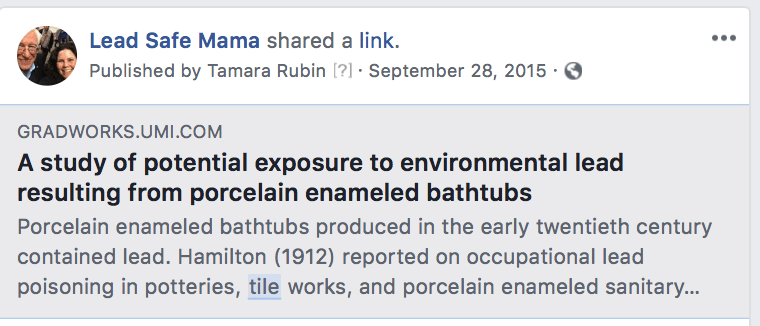 A study of potential exposure to environmental lead resulting from porcelain enameled bathtubs