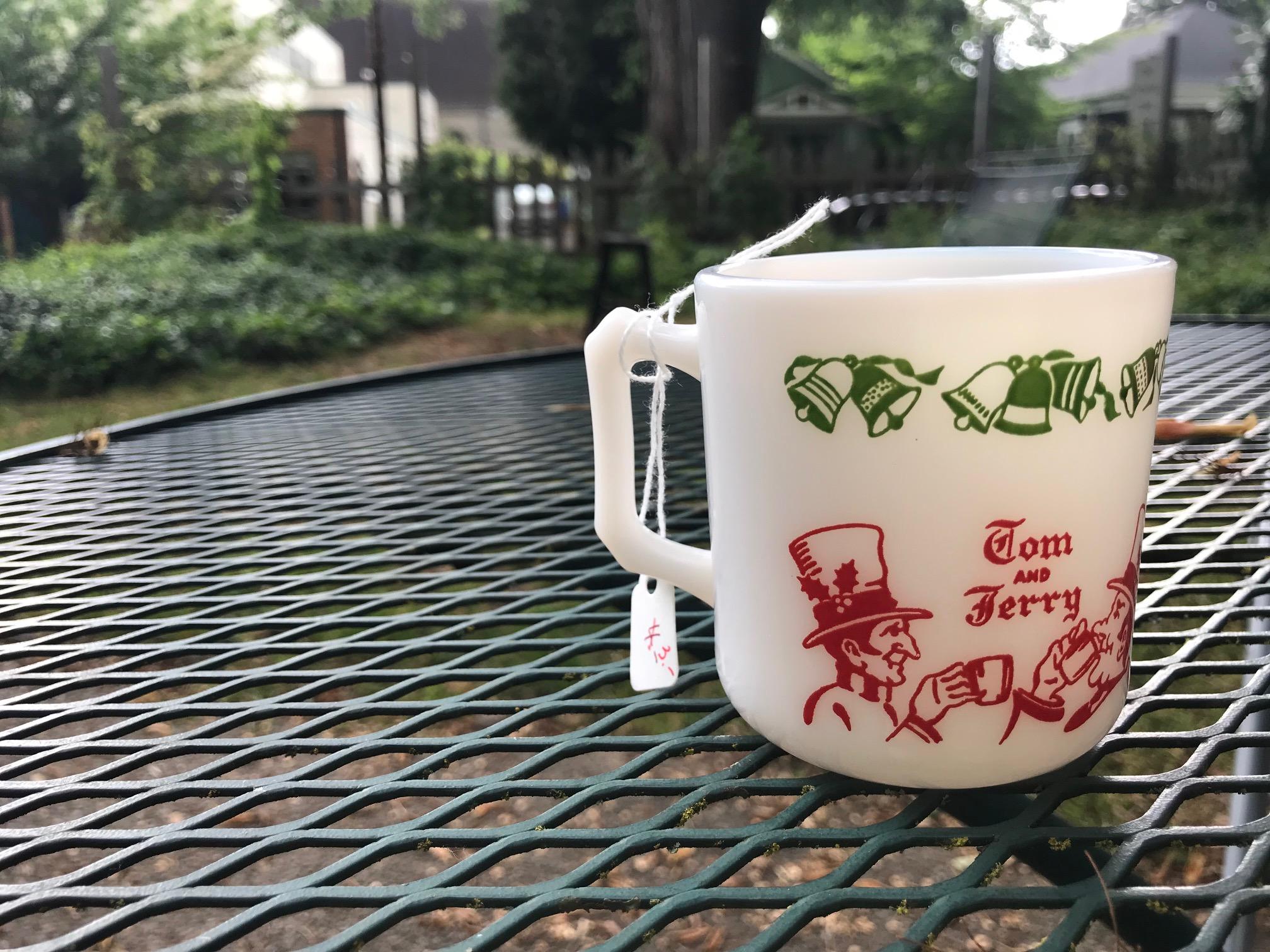 Tom And Jerry Vintage Milk Glass Christmas Mug: 37,100 ppm Lead + Cadmium