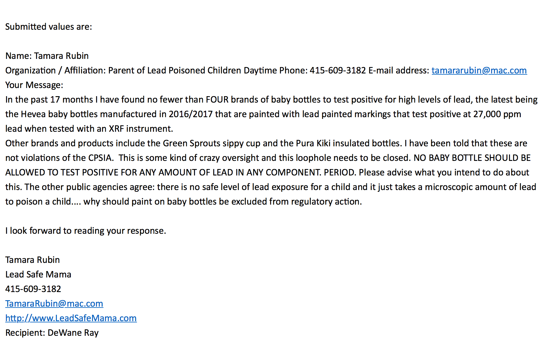 My Initial July 2018 Inquiry To The CPSC Re: Lead In Baby Bottles