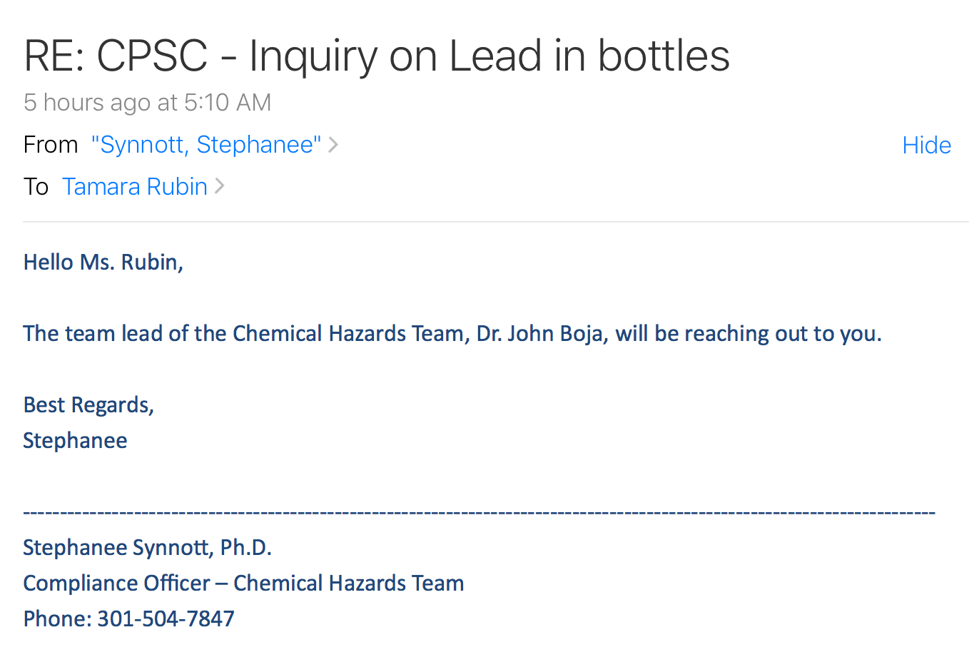 Email From CPSC Today, Lead In Baby Bottles - July 30, 2018