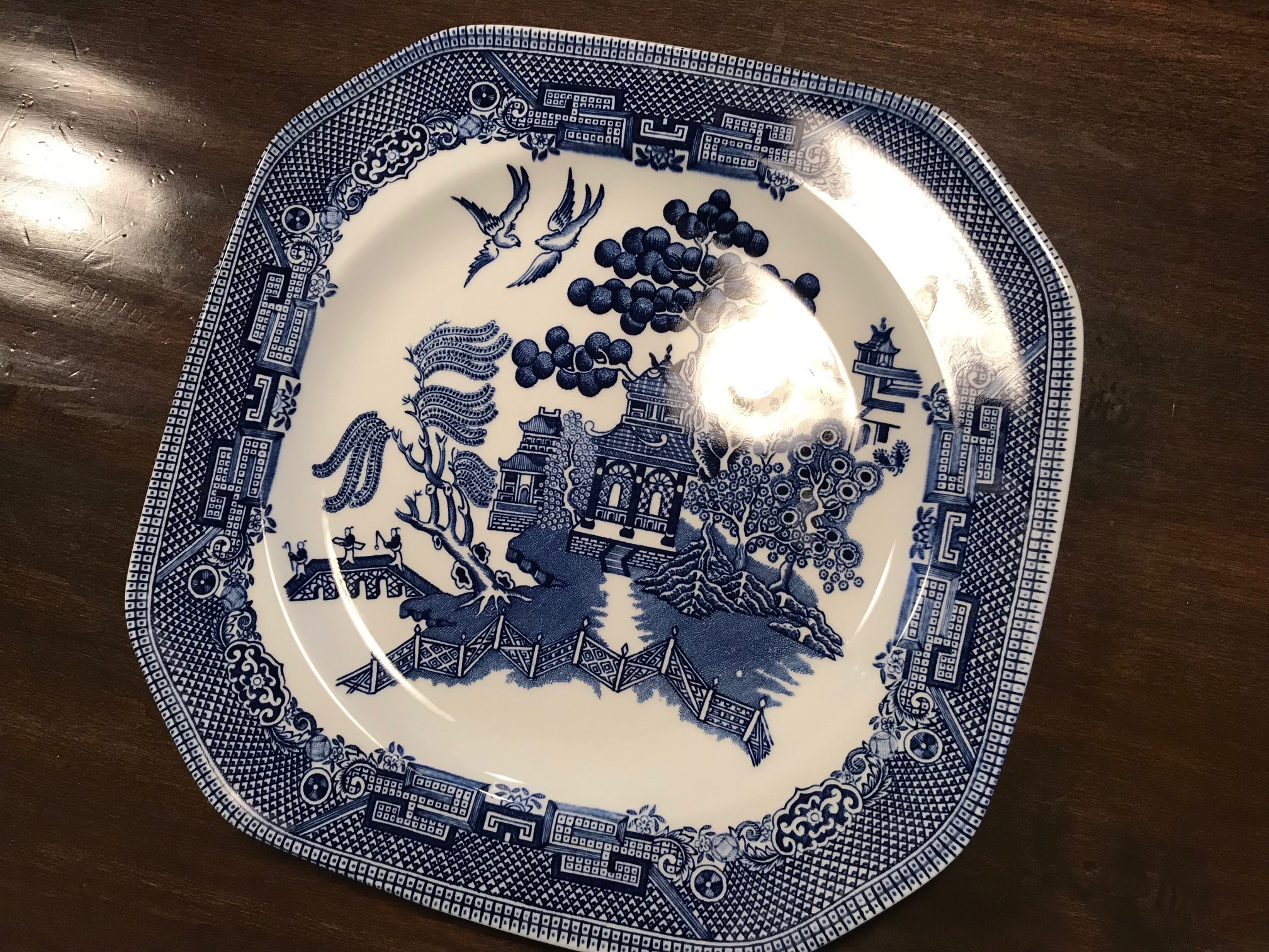 Johnson Brothers Wedgwood Group Willow Earthenware Octagonal Plate