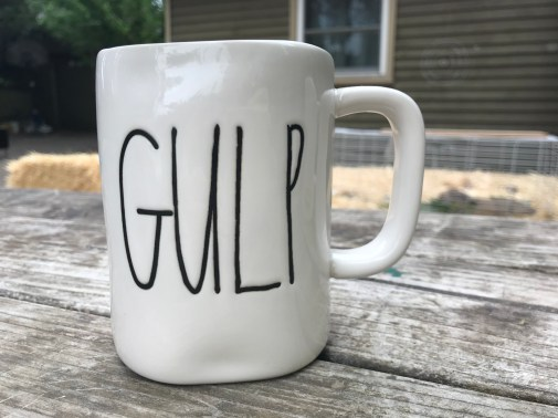 "New (August 2018) Rae Dunn Ceramic ""Gulp"" Coffee Mug from Marshall's: 108 +/- 18 ppm Lead (safe by all standards.)"