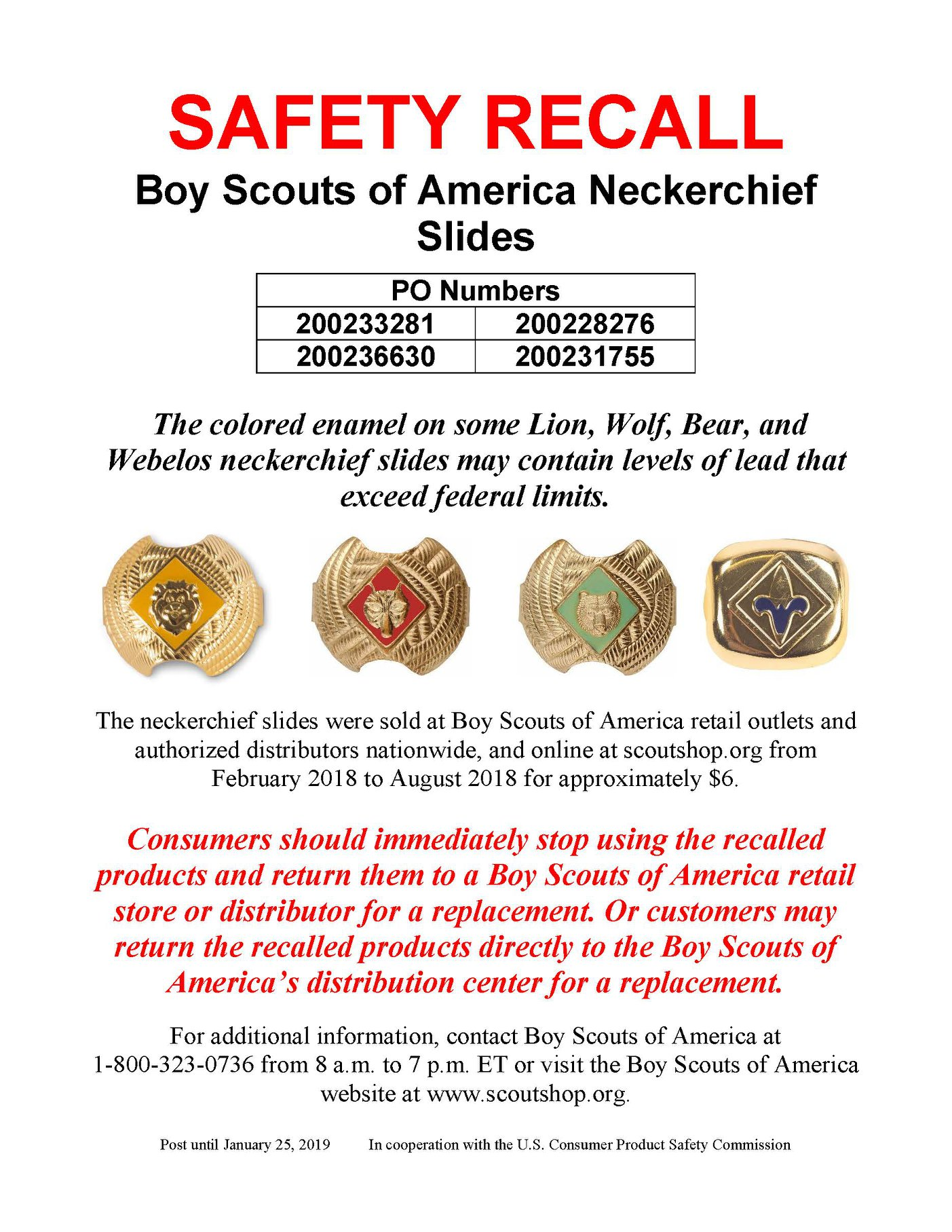 September 2018 Boy Scout Neckerchief Recall, Leaded Enamel