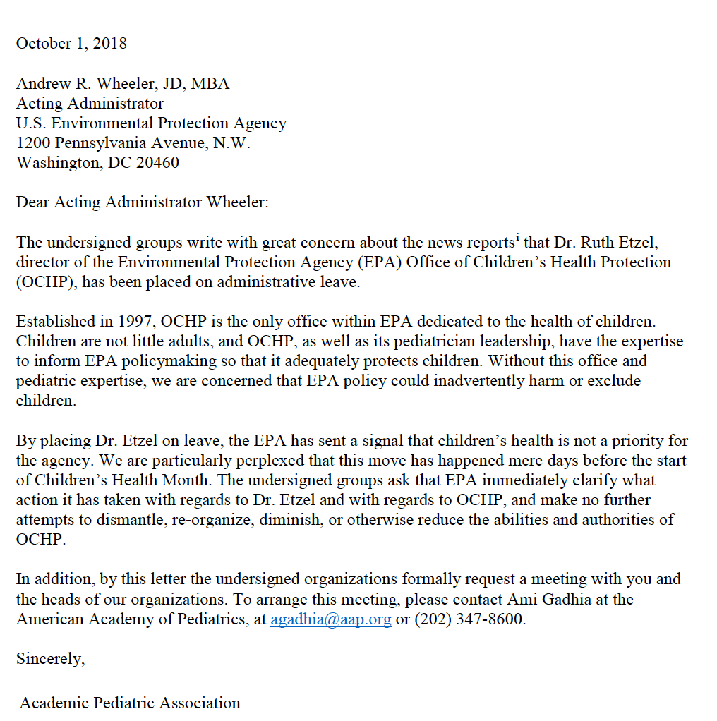 October 1, 2018 letter In protest of the suspension of Dr. Ruth Etzel from the EPA