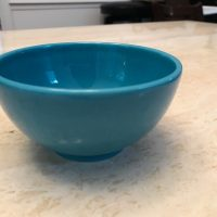 Teal Waechtersbach Germany Bowl from Williams Sonoma Lead Safe Mama Tamara Rubin 1