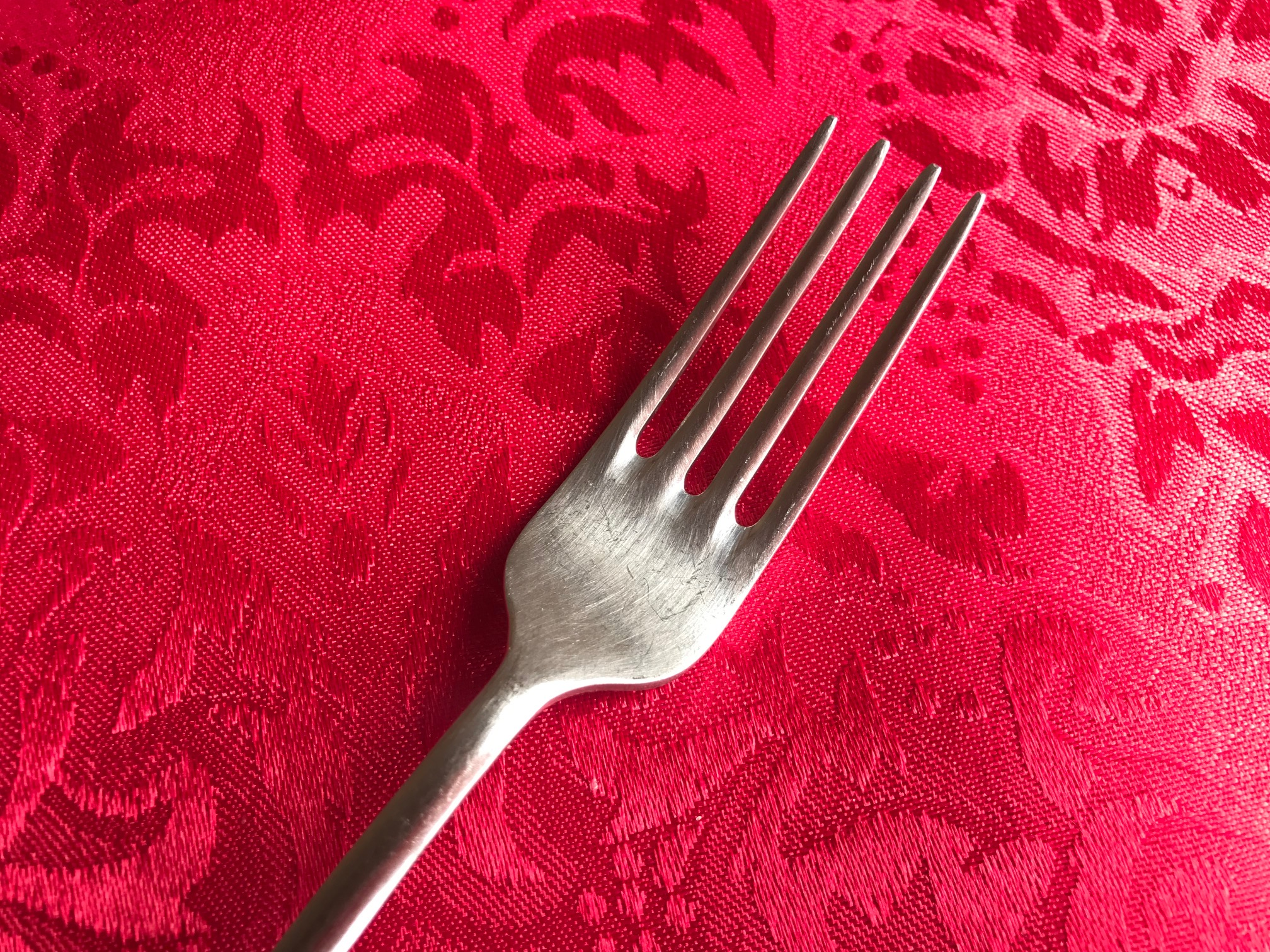 18/10 Stainless Steel Fork, c. 2003 - Borromeo Pattern by Calderoni, Italy: Lead Free