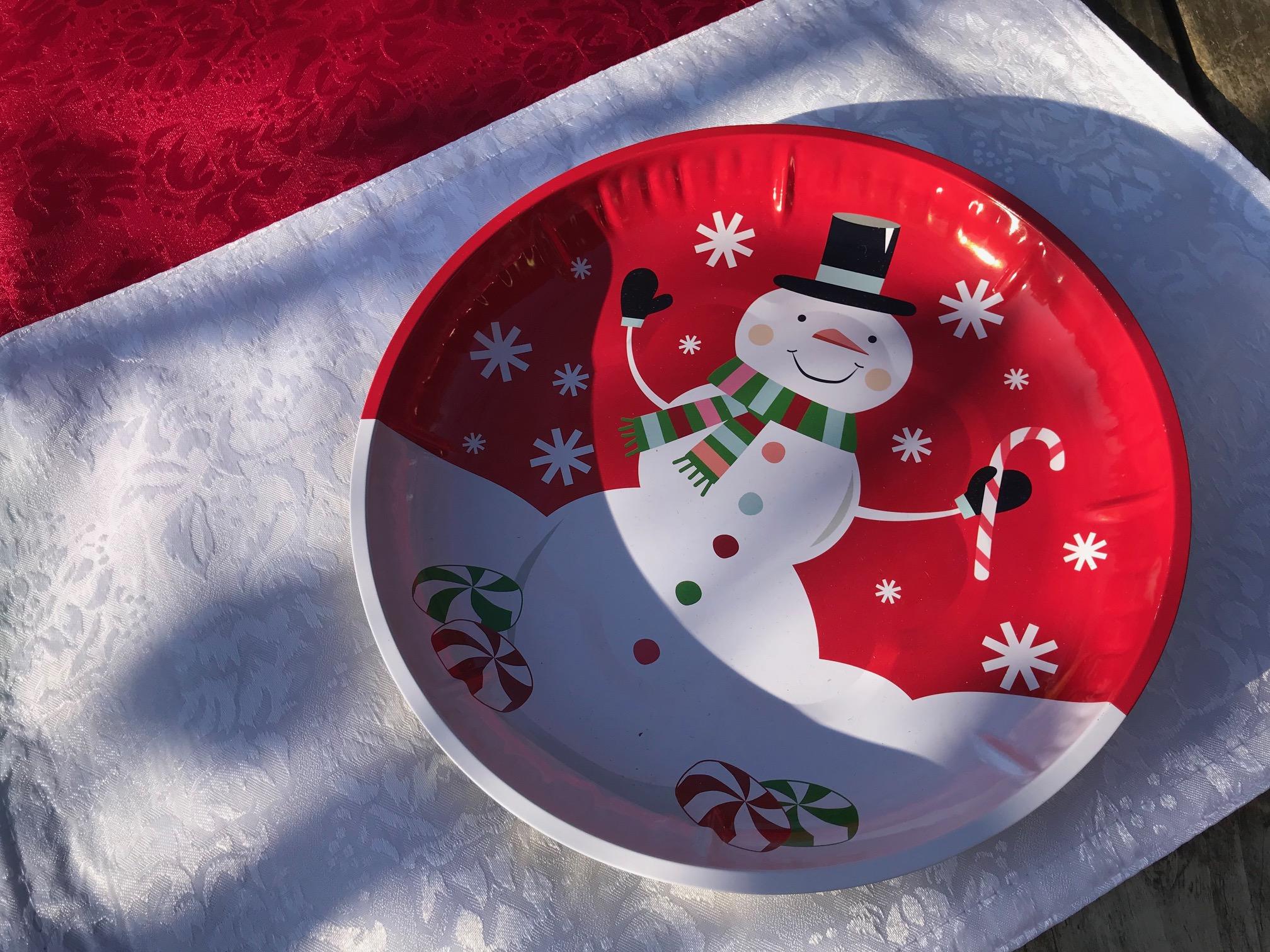 2018 Dollar Store Snowman Design Metal Tray / Plate: Lead Free!