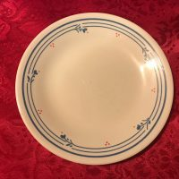 Cream Corelle Small Plate with Blue Edging Red Berries Lead Safe Mama 6