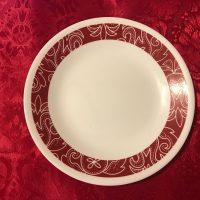Small Corelle Plate With Red Floral Border Lead Safe Mama 1