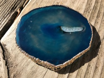 XRF Test Results for Stephen D. Evans Electroplated & Dyed Blue Agate Coaster