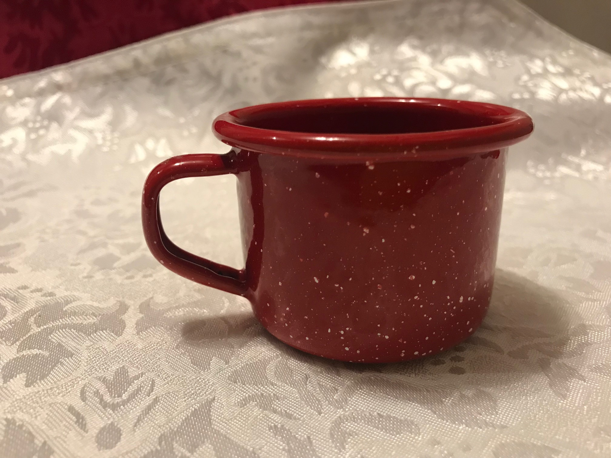 "Small Red & White Speckled GSI Outdoors Enamelware ""Baby Cup"": 16,200 ppm Cadmium!"