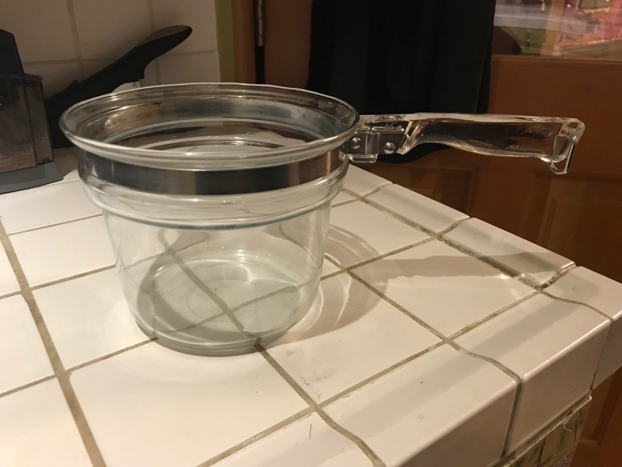 Made In USA Vintage Pyrex Clear Glass Double Boiler Cooking Pot: 216 ppm Lead