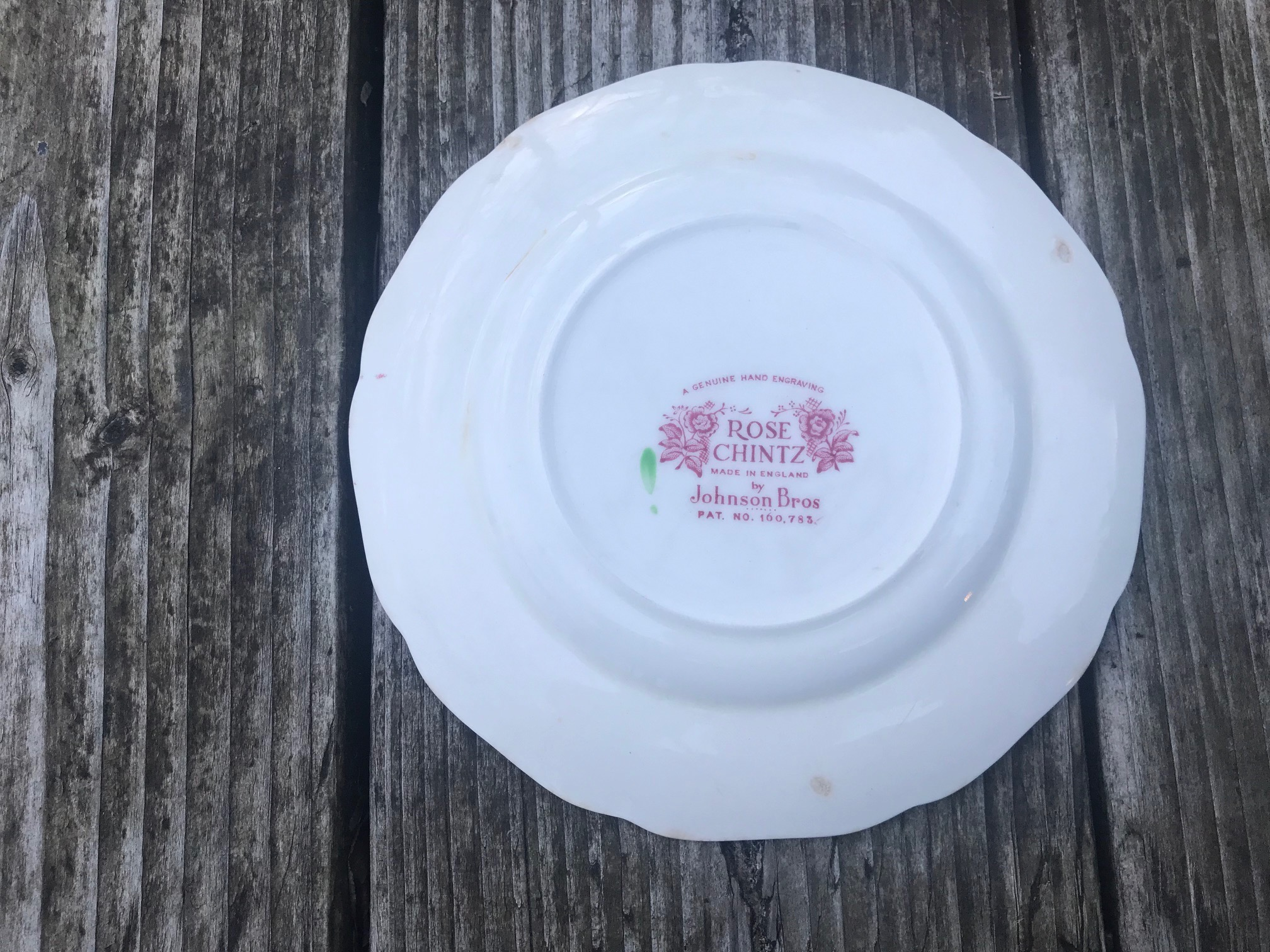 Johnson Brothers Rose Chintz Made In England Small China Plate: 49,300 ppm Lead [almost 5%!], 87 ppm Antimony. Johnson Brothers is almost always high lead.