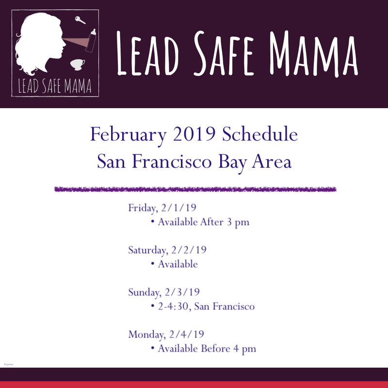 Lead Safe Mama's February 2019 SF Bay Area Schedule