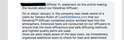 I am so thankful that Young Living was able to confirm my findings that there is Lead in their diffusers! Read my response to their response here.