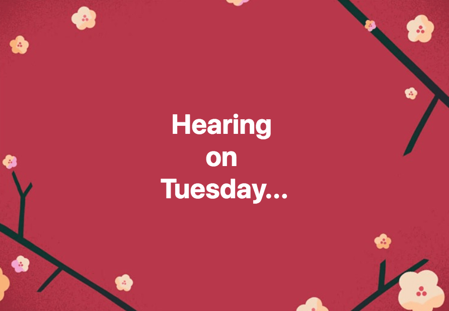 The next hearing in my legal case is on Tuesday (2/19/19)...