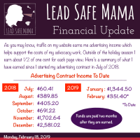 Lead Safe Mama Financial update February 2018 Advertising Income