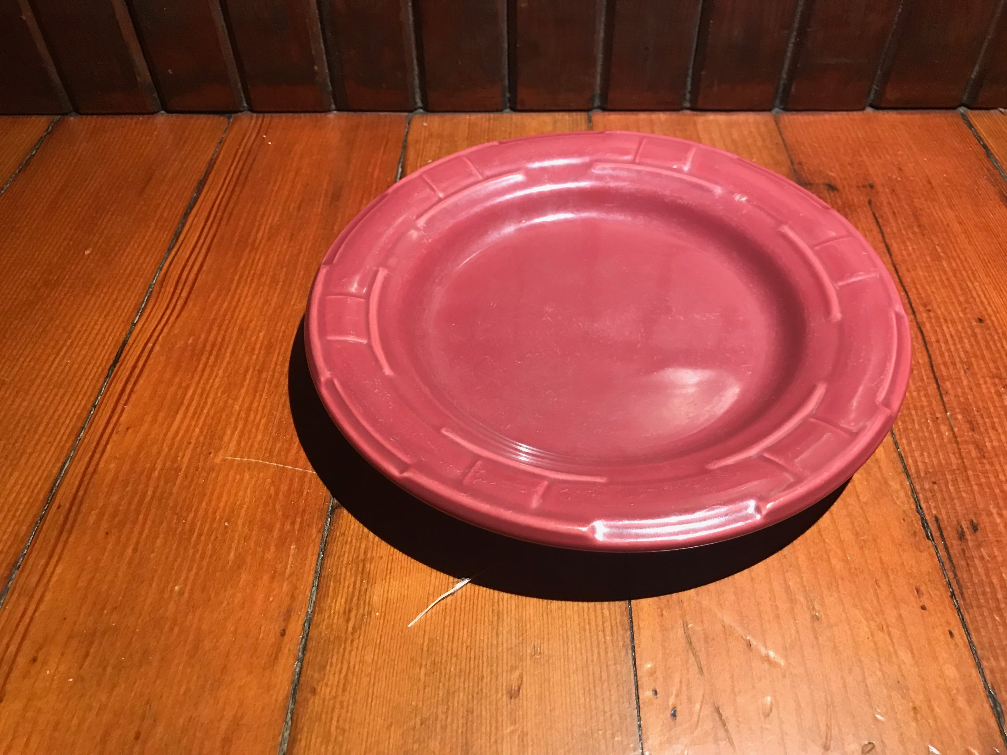 Longaberger Pottery Vitrified China Small Burgundy Plate: 56 ppm Lead + 101 ppm Cadmium