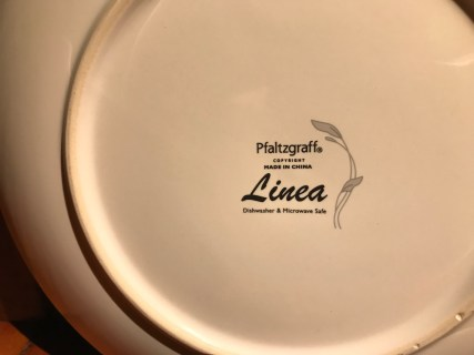 Pfaltzgraff Linea Pattern (Made In China) White Ceramic Plate: 218 ppm Lead
