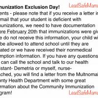 School Notice February 8 2019 Vaccine