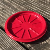 Red Tupperware Mug and Saucer Lead Safe Mama 1