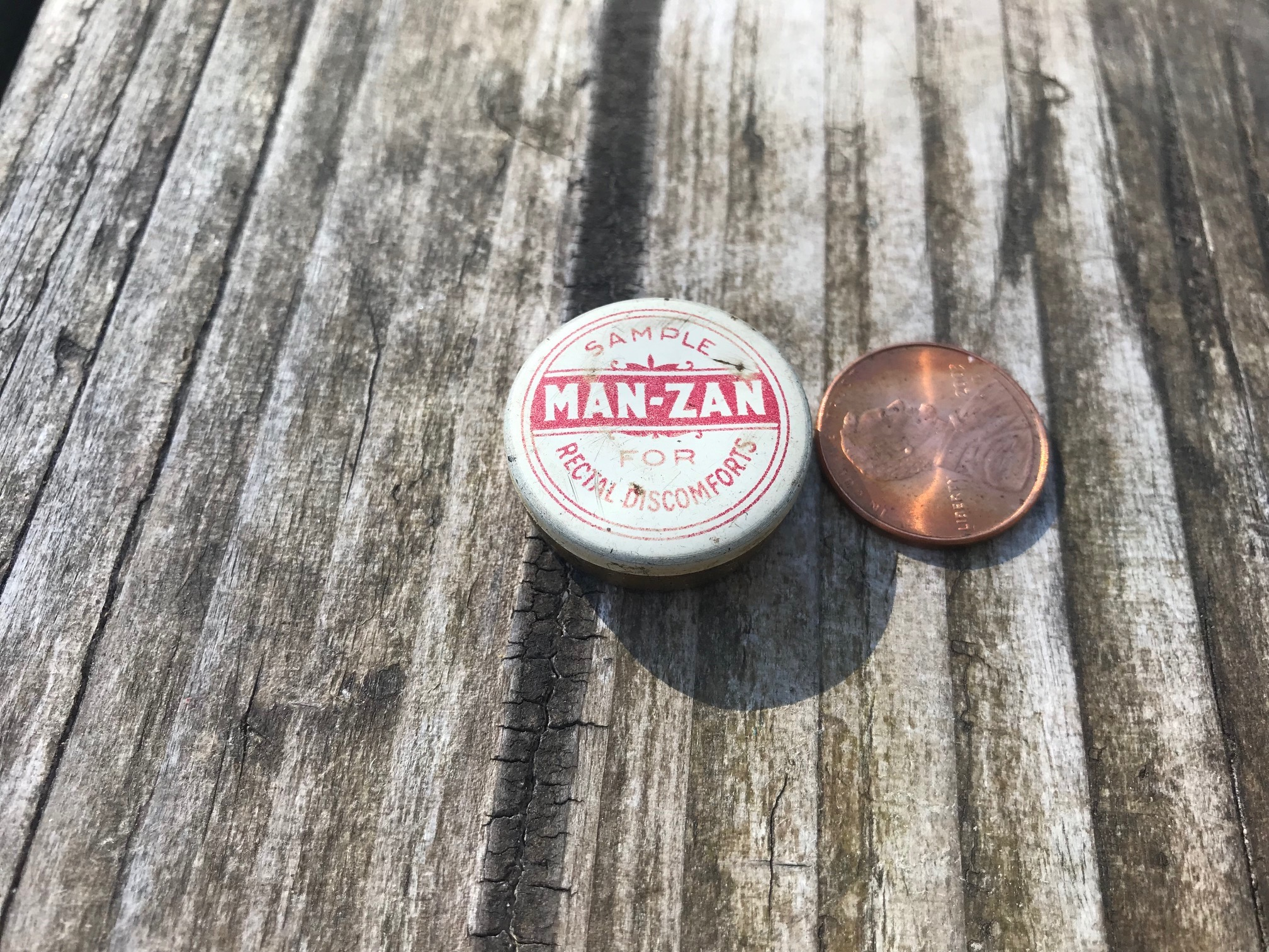 Vintage Tin - Sample Man-Zan Cream for Rectal Discomfort: 1,805 ppm Lead + 975 ppm Mercury [Not a good idea to let kids play with vintage tins!]