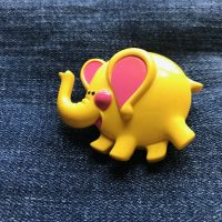 1973 Fragrance Glace Avon Elephant Perfume Pin Lead Safe Mama 2