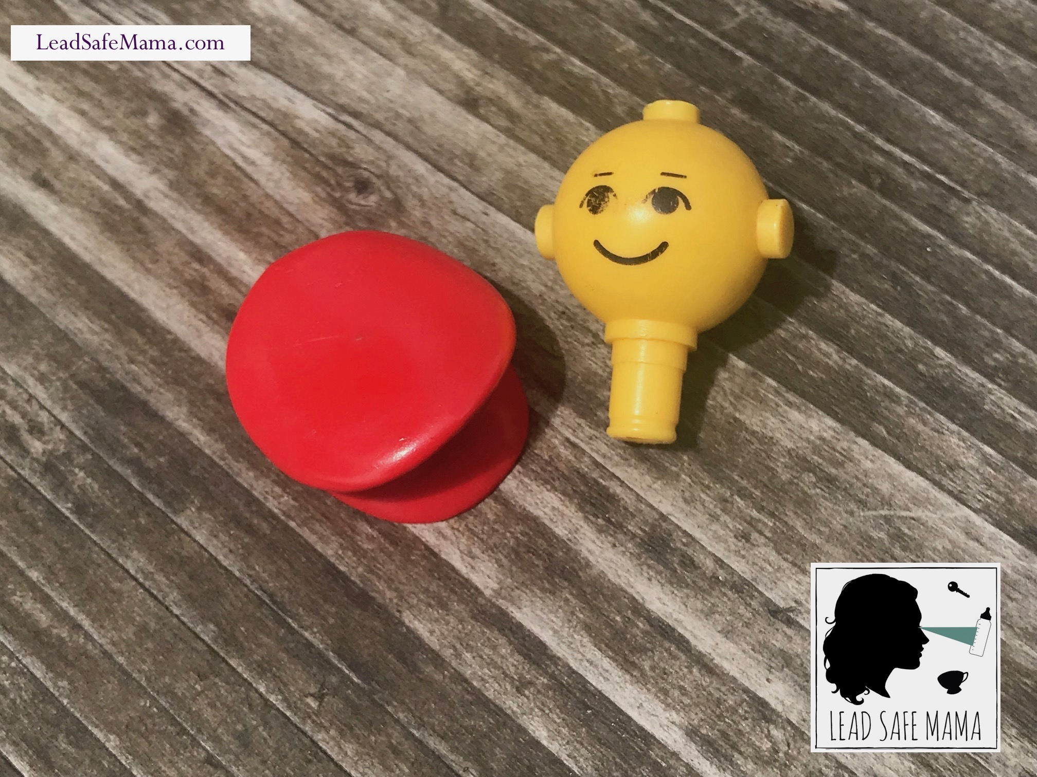 Vintage (1978-1988) red & yellow Lego® head with hat: 5,096 ppm Cadmium [≥40 is unsafe] & 26 ppm Arsenic