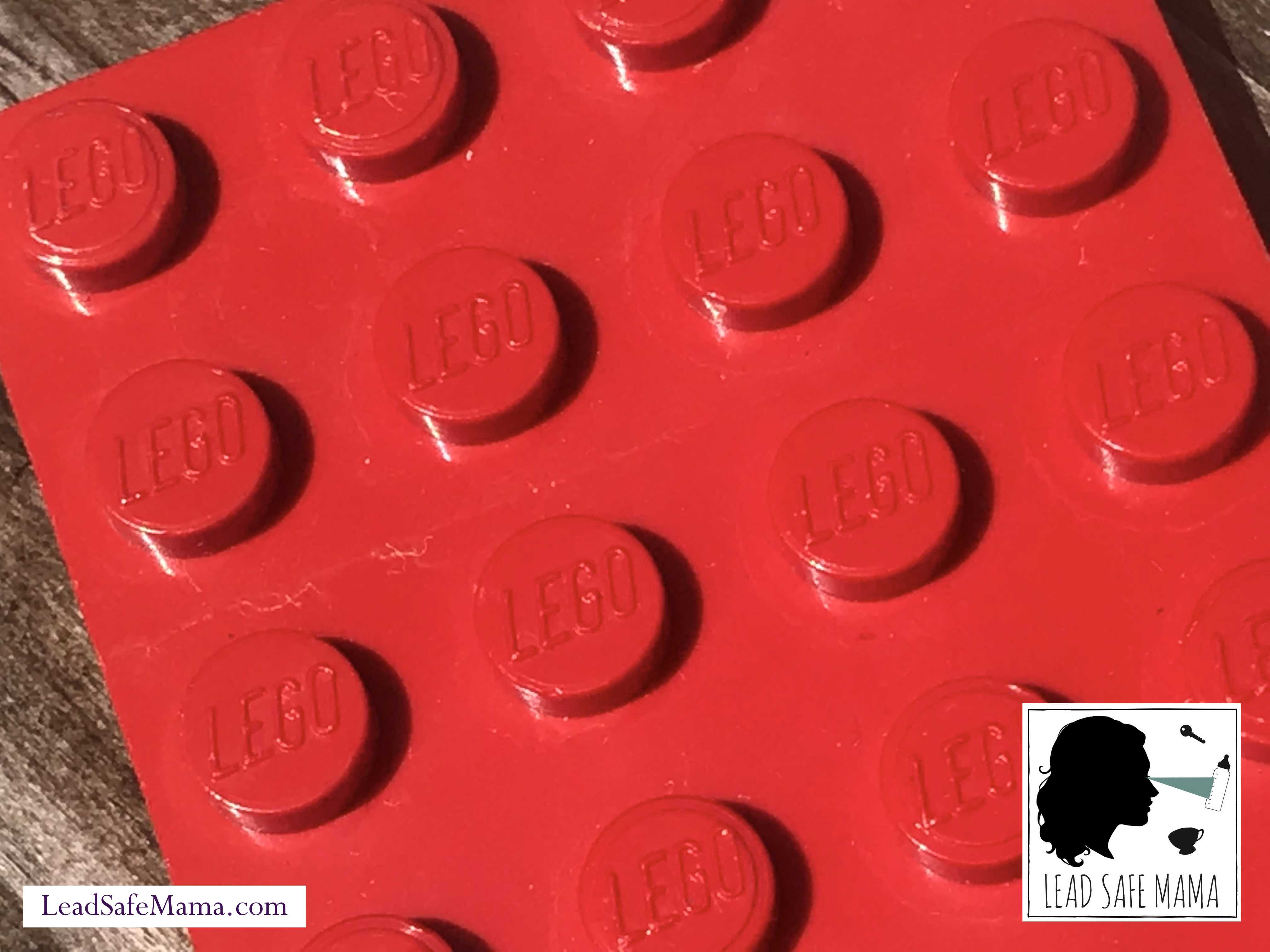 Vintage (1978-1988) Red Lego Brand 4 x 12 flat panel: 7,659 ppm Cadmium (40 ppm is unsafe) + 39 ppm Arsenic